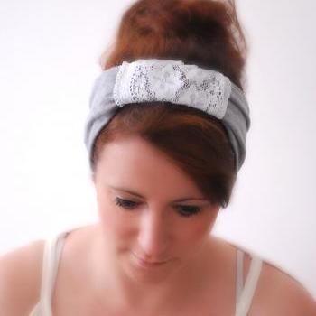 Gray Wide Sparrow Headband with lace center piece